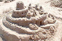 Sand Castle sculpture competition on Thomas Beach at Lake Calhoun. Aquatennial Beach Bash Minneapolis Minnesota USA