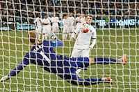 Melbourne, 21 July 2015 - Adem Ljajić of AS Roma kicks a goal past Joe Hart of Manchester City during the penalty shoot out in game two of the International Champions Cup match at the Melbourne Cricket Ground, Australia. City def Roma 5-4 in Penalties. (Photo Sydney Low / AsteriskImages.com)