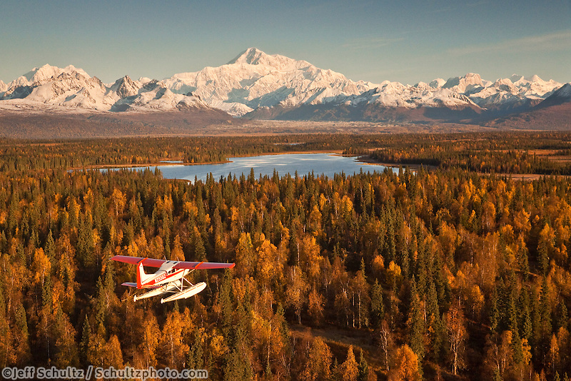 """View Of A Cessna 185 Floatplane In Flight With Mt. Mckinley In The Background, Southside, Southcentral Alaska, Fall"""
