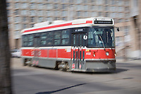 A TTC streetcar is pictured  April 22, 2010. The Toronto streetcar system is operated by the Toronto Transit Commission (TTC), the municipal public transit operator.