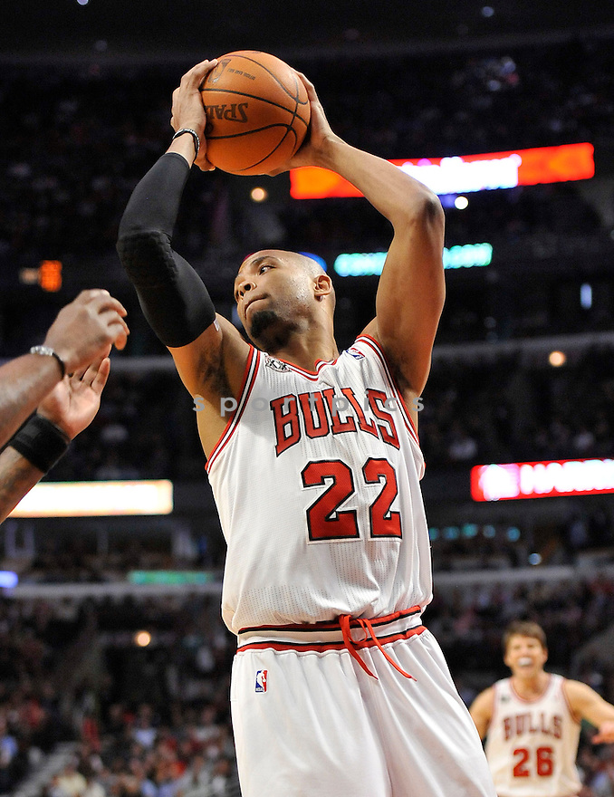 TAJ GIBSON, of the Chicago Bulls, in action during the Bulls game against the Boston Celtics, on April 7, 2011 at the United Center in Chicago, IL.  The Bulls beat the Celtics 97-81.