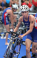 20 AUG 2005 - LAUSANNE, SWITZERLAND - .Liz Blatchford (GBR) leaves T1 during the Elite Womens race at the European Triathlon Championships. (PHOTO (C) NIGEL FARROW)
