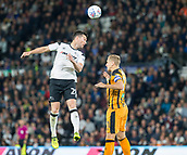 8th September 2017, Pride Park Stadium, Derby, England; EFL Championship football, Derby County versus Hull City; David Nugent of Derby County gets above Michael Dawson of Hull City to head the ball
