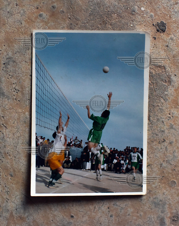 An old photo of a volley ball game held in Khanasor before ISIS took over th eregion in 2014.