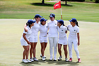 Auckland celebrate. Day One of the Toro Interprovincial Women's Championship, Sherwood Golf Club, Whangarei,  New Zealand. Thursday 7 December 2017. Photo: Simon Watts/www.bwmedia.co.nz