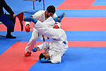 (T-B) Ahmad Almesfer (KUW), € Ryutaro Araga (JPN), <br /> AUGUST 27, 2018 - Karate : Men's Kumite -84kg Final at Jakarta Convention Center Plenary Hall during the 2018 Jakarta Palembang Asian Games in Jakarta, Indonesia. <br /> (Photo by MATSUO.K/AFLO SPORT)