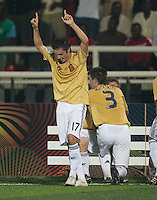 Pablo Sarabia celebrates. Spain defeated the U.S. Under-17 Men National Team  2-1 at Sani Abacha Stadium in Kano, Nigeria on October 26, 2009.