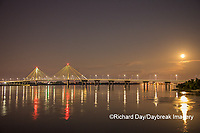 63895-15410 Clark Bridge at night over Mississippi River and full moon Alton, IL