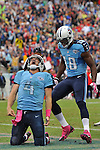 NASHVILLE, TN - OCTOBER 06:  Quarterback Ryan Fitzpatrick #4 of the Tennessee Titans celebrates after scoring a rushing touchdown against the Kansas City Chiefs at LP Field on October 6, 2013 in Nashville, Tennessee.  (Photo by Frederick Breedon/Getty Images)