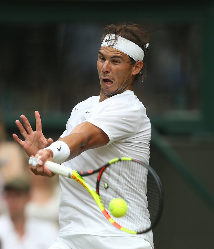 Rafael Nadal (ESP) during his match against Jo-Wilfried Tsonga (FRA) in their Gentleman's Singles Third Round match<br /> <br /> Photographer Rob Newell/CameraSport<br /> <br /> Wimbledon Lawn Tennis Championships - Day 6 - Saturday 6th July 2019 -  All England Lawn Tennis and Croquet Club - Wimbledon - London - England<br /> <br /> World Copyright © 2019 CameraSport. All rights reserved. 43 Linden Ave. Countesthorpe. Leicester. England. LE8 5PG - Tel: +44 (0) 116 277 4147 - admin@camerasport.com - www.camerasport.com