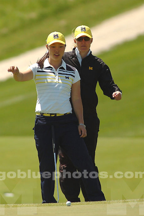 The University of Michigan women's golf team compete during the first round of the 2014 Big Ten Women's Golf Tournament in French Lick, IN. April 25, 2014