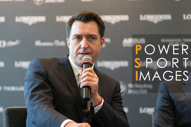 Fabien Grobon, Managing Director of EEM, speaks at Longines Hong Kong Masters official press conference at the Happy Valley Racetrack on February 02, 2016 in Hong Kong.  Photo by Victor Fraile / Power Sport Images
