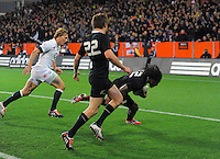 Ma'a Nonu scores during the Steinlager Series international rugby match between the New Zealand All Blacks and England at Forsyth Barr Stadium, Dunedin, New Zealand on Saturday, 14 June 2014. Photo: Dave Lintott / lintottphoto.co.nz