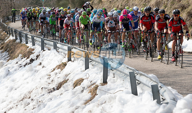 Snow on the side of the roads as the peloton hits the mountains during Stage 4 of the 2015 Tirreno-Adriatico cycle race running 226km from Indicatore to Castelraimondo, Italy. 14th March 2015. <br /> Photo: ANSA/Claudio Peri/www.newsfile.ie