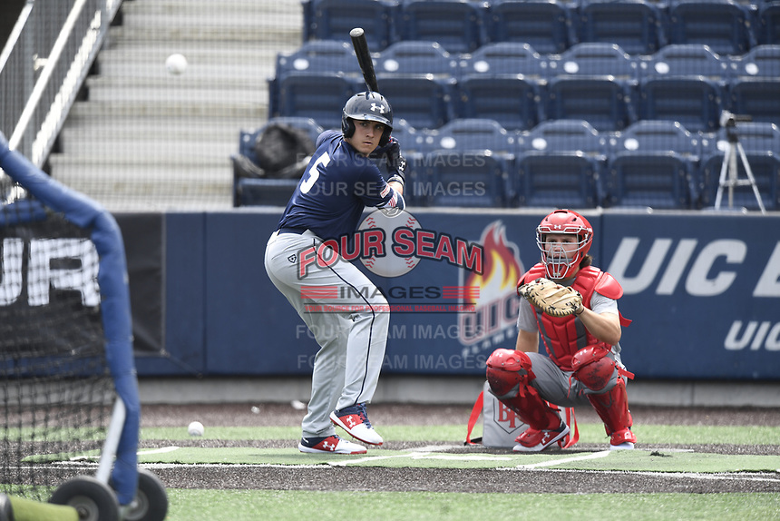 TEMPORARY UNEDITED FILE:  Image may appear lighter/darker than final edit - all images cropped to best fit print size.  <br /> <br /> Under Armour All-American Game presented by Baseball Factory on July 19, 2018 at Les Miller Field at Curtis Granderson Stadium in Chicago, Illinois.  (Mike Janes/Four Seam Images) Michael Carpentier is an infielder from Yucaipa High School in Highland, California committed to Arizona State.