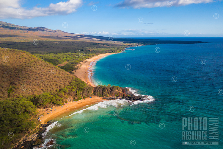 Aerial view of a clear day at Makena Beach, Maui.