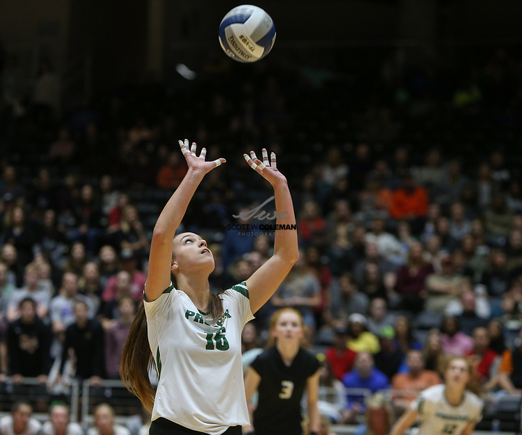 Prosper Eagles junior Madison Whitmire (16) sets the ball during the Class 5A high school volleyball state final between Rouse High School and Prosper High School at Curtis Culwell Center in Garland, Texas, on November 18, 2017. Prosper won the match in five sets, (25-18, 21-25, 18-25, 25, 23, 16-14) to win the 5A state championship.