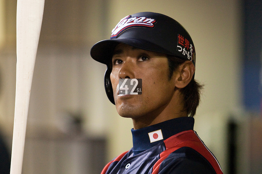 17 March 2009:#41 Atsunori Inaba of Japan is seen in the dugout  during the 2009 World Baseball Classic Pool 1 game 4 at Petco Park in San Diego, California, USA. Korea wins 4-1 over Japan.