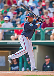 11 March 2016: Atlanta Braves outfielder Dian Toscano in action during a Spring Training pre-season game against the Philadelphia Phillies at Champion Stadium in the ESPN Wide World of Sports Complex in Kissimmee, Florida. The Phillies defeated the Braves 9-2 in Grapefruit League play. Mandatory Credit: Ed Wolfstein Photo *** RAW (NEF) Image File Available ***