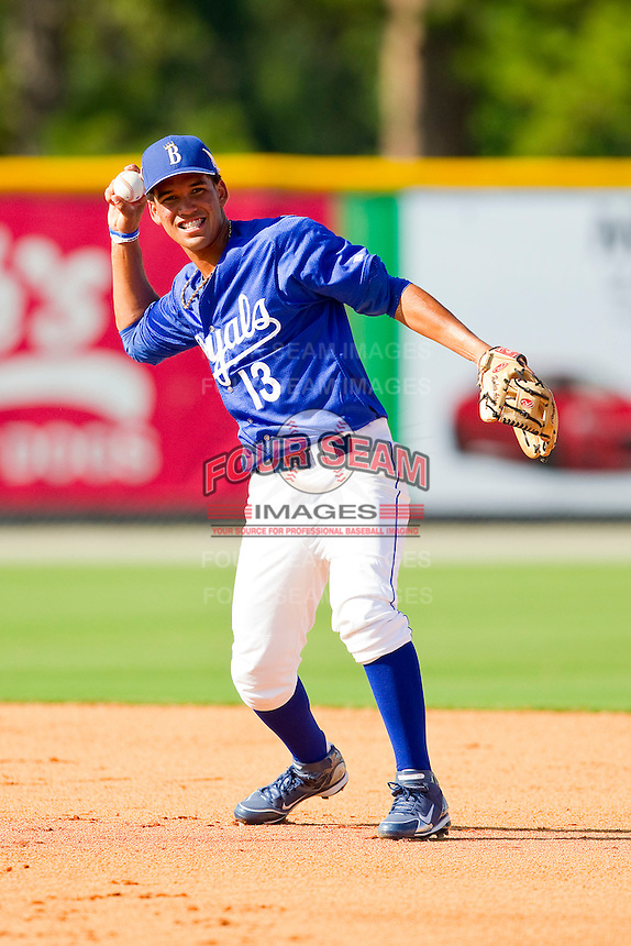 Burlington Royals shortstop Humberto Arteaga #13 makes a throw to first base during practice at Burlington Athletic Park on June 15, 2012 in Burlington, North Carolina.  (Brian Westerholt/Four Seam Images)