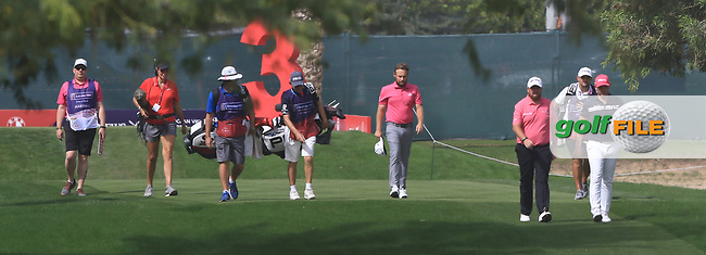 Shane Lowry (IRL), Matt Wallace (ENG) and Tyrrell Hatton (ENG) walking down the 3rd during Round 2 of the Omega Dubai Desert Classic, Emirates Golf Club, Dubai,  United Arab Emirates. 25/01/2019<br /> Picture: Golffile | Thos Caffrey<br /> <br /> <br /> All photo usage must carry mandatory copyright credit (&copy; Golffile | Thos Caffrey)