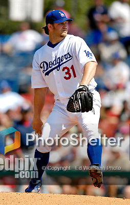 11 March 2007: Los Angeles Dodgers pitcher Brad Penny on the mound against the Washington Nationals at Holman Stadium in Vero Beach, Florida. <br /> <br /> Mandatory Photo Credit: Ed Wolfstein Photo