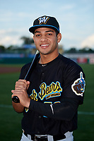 West Virginia Black Bears designated hitter Fabricio Macias (59) poses for a photo before a game against the State College Spikes on August 30, 2018 at Medlar Field at Lubrano Park in State College, Pennsylvania.  West Virginia defeated State College 5-3.  (Mike Janes/Four Seam Images)