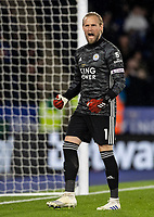 Leicester City's Kasper Schmeichel celebrates his side's first goal <br /> <br /> Photographer Andrew Kearns/CameraSport<br /> <br /> The Premier League - Leicester City v Aston Villa - Monday 9th March 2020 - King Power Stadium - Leicester<br /> <br /> World Copyright © 2020 CameraSport. All rights reserved. 43 Linden Ave. Countesthorpe. Leicester. England. LE8 5PG - Tel: +44 (0) 116 277 4147 - admin@camerasport.com - www.camerasport.com