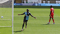 Anthony Stewart of Wycombe Wanderers celebrates making it 1-0 with his first goal on his return to the club during the Sky Bet League 2 match between Wycombe Wanderers and York City at Adams Park, High Wycombe, England on 8 August 2015. Photo by Andy Rowland.