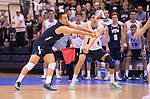 07 MAY: Brigham Young University teammates both go for the ball against Ohio State University during the Division I Men's Volleyball Championship held at Rec Hall on the Penn State University campus in University Park, PA. Ohio State defeated BYU 3-1 for the national title. Ben Solomon/NCAA Photos