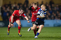 Tom Homer of Bath Rugby takes on the Saracens defence. Gallagher Premiership match, between Bath Rugby and Saracens on March 8, 2019 at the Recreation Ground in Bath, England. Photo by: Patrick Khachfe / Onside Images