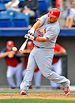 7 March 2012: St. Louis Cardinal infielder Matt Adams in action against the Washington Nationals at Space Coast Stadium in Viera, Florida. The teams battled to a 3-3 tie in Grapefruit League Spring Training action. Mandatory Credit: Ed Wolfstein Photo