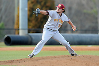 Starting pitcher Riley Arnone (34) of the Winthrop University Eagles delivers a pitch in a game against the University of South Carolina Upstate Spartans on Wednesday, March 4, 2015, at Cleveland S. Harley Park in Spartanburg, South Carolina. Upstate won, 12-3. (Tom Priddy/Four Seam Images)
