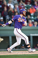 Second baseman Grayson Byrd (4) of the Clemson Tigers bats in the Reedy River Rivalry game against the South Carolina Gamecocks on Saturday, March 3, 2018, at Fluor Field at the West End in Greenville, South Carolina. Clemson won, 5-1. (Tom Priddy/Four Seam Images)