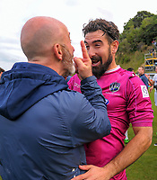 Goalkeeping coach Simone Naddi celebrates with keeper Enaut Zubikarai after the Oceania Football Championship final (second leg) football match between Team Wellington and Auckland City FC at David Farrington Park in Wellington, New Zealand on Sunday, 7 May 2017. Photo: Dave Lintott / lintottphoto.co.nz