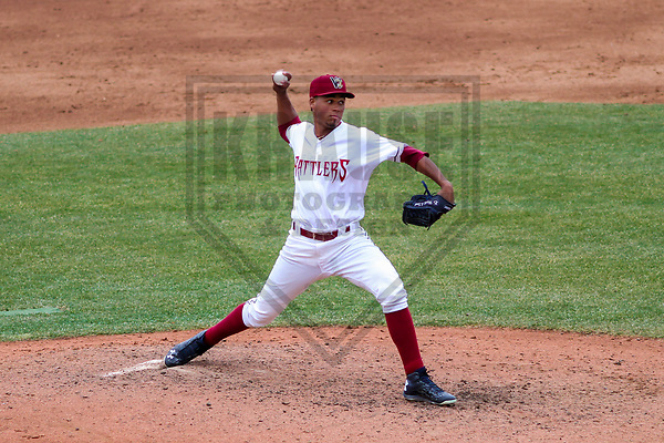 Wisconsin Timber Rattlers pitcher Miguel Sanchez (10) during a Midwest League game against the Burlington Bees on April 11th, 2017 at Fox Cities Stadium in Appleton, Wisconsin.  Wisconsin defeated Burlington 4-3. (Brad Krause/Krause Sports Photography)
