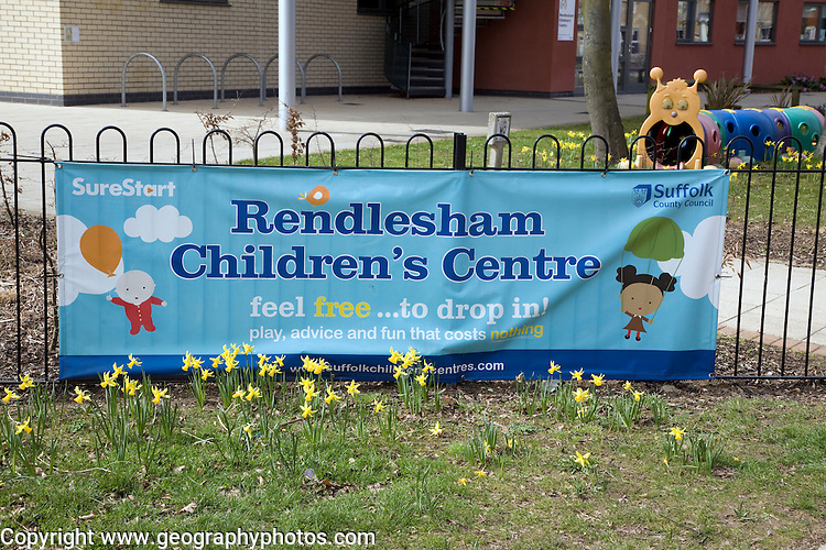 Children's centre sign banner, Rendlesham, Suffolk