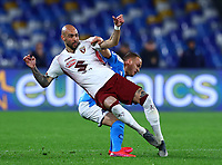 29th February 2020; Stadio San Paolo, Naples, Campania, Italy; Serie A Football, Napoli versus Torino; Simone Zaza of Torino FC challenges Stanislav Lobotka of Napoli