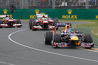 MELBOURNE, 17 MARCH - Sebastian Vettel (DEU) from the Infiniti Red Bull Racing team leads the field into turn one of the 2013 Formula One Rolex Australian Grand Prix at the Albert Park Circuit in Melbourne, Australia. Photo Sydney Low/syd-low.com
