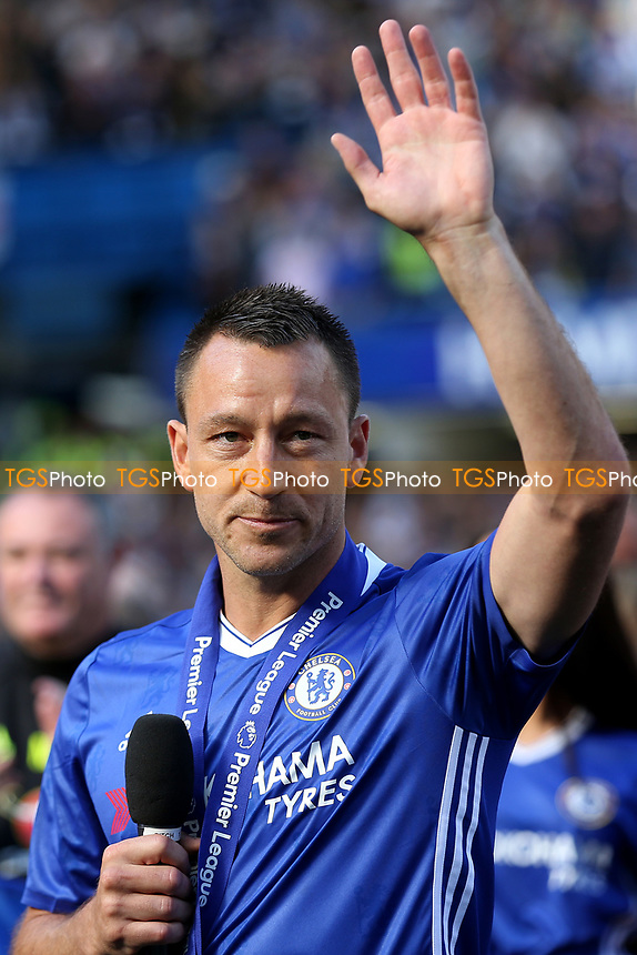 Chelsea's John Terry waves at the Stamford Bridge fans as he begins his emotional farewell speech during Chelsea vs Sunderland AFC, Premier League Football at Stamford Bridge on 21st May 2017