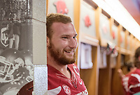 Hawgs Illustrated /BEN GOFF @NWABENGOFF<br /> Frank Ragnow, senior offensive lineman, talks to the press in the locker room Saturday, Aug. 5, 2017, during Arkansas football media day at the Fred W. Smith Football Center in Fayetteville.