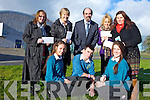 Students from Mercy Mounthawk Secondary school presented the proceeds from a variety of fundraisers to charity on Monday afternoon. PIctured were: Ciara Murphy, Stephen Ahern and Isobel Lenihan. Back l-r were: Deirdre Moore (Crumlin Cardiac Unit), Kathleen Houlihan (Rosemary Centre) John O'Roarke, Helena Collins (Kerry Adolescent Counselling Service) and Mairead O'Sullivan (Recovery Haven).