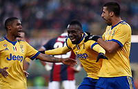 Calcio, Serie A: Bologna vs Juventus, stadio Renato D'Allara, Bologna,17 dicembre 2017.<br /> Juventus' Blaise Matuidi (c) celebrates with his teammates Sami Khedira (r) and Douglas Costa (l) after scoring during the Italian Serie A football match between Bologna and Juventus at Bologna's Renato D'Allara stadium, December 17, 2017.<br /> UPDATE IMAGES PRESS/Isabella Bonotto