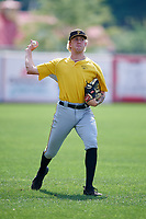 Bristol Pirates pitcher Austin Shields (45) warms up before a game against the Bluefield Blue Jays on July 26, 2018 at Bowen Field in Bluefield, Virginia.  Bristol defeated Bluefield 7-6.  (Mike Janes/Four Seam Images)