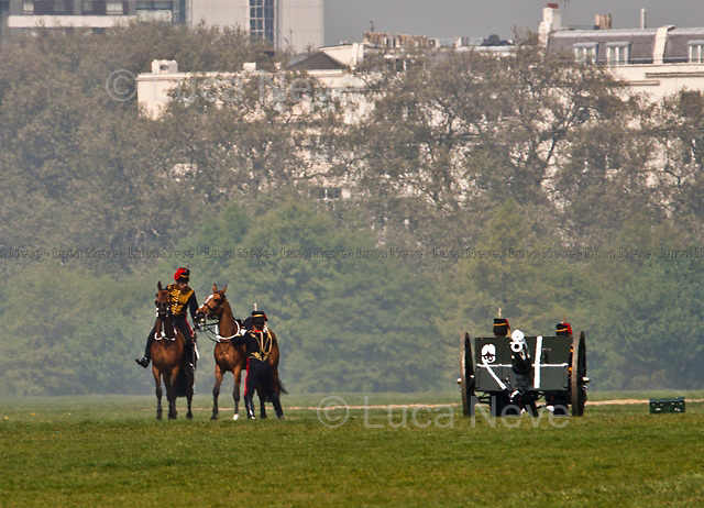 London, 21/04/2011. Hyde Park was the stage of the annual salute for Her Majesty the Queen's Birthday. A total of 41 rounds of cannon and gun shots were fired by the King's Troop Royal Horse Artillery in Hyde Park at 12 noon.