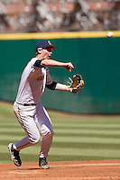 California Golden Bears shortstop Chris Paul #6 throws the ball to first during the NCAA baseball game against the Baylor Bears on March 1st, 2013 at Minute Maid Park in Houston, Texas. Baylor defeated Cal 9-0. (Andrew Woolley/Four Seam Images).