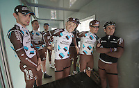Team AG2R-LaMondiale waiting backstage to be presented to the crowd<br /> <br /> Dwars Door Vlaanderen 2014