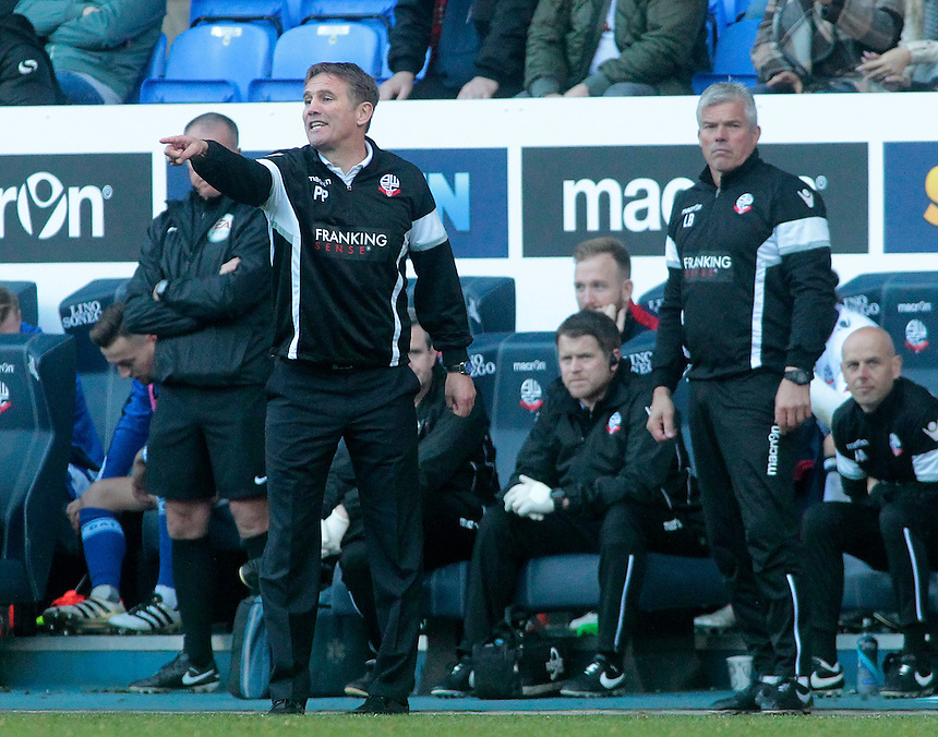 Bolton Wanderers manager Phil Parkinson shouts instructions to his team from the dug-out<br /> <br /> Photographer David Shipman/CameraSport<br /> <br /> The EFL Sky Bet League One - Bolton Wanderers v Oldham Athletic - Saturday 15th October 2016 - Macron Stadium - Bolton<br /> <br /> World Copyright &copy; 2016 CameraSport. All rights reserved. 43 Linden Ave. Countesthorpe. Leicester. England. LE8 5PG - Tel: +44 (0) 116 277 4147 - admin@camerasport.com - www.camerasport.com