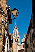Street lamp and cathedral, Toledo, Spain