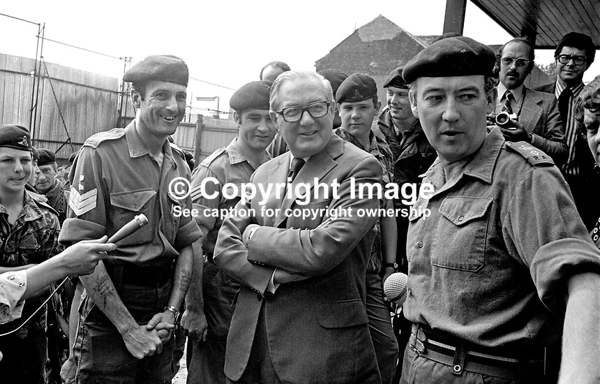 UK Prime Minister James Callaghan with British Army personnel on a visit to Belfast, N Ireland. 197607050399a.<br />